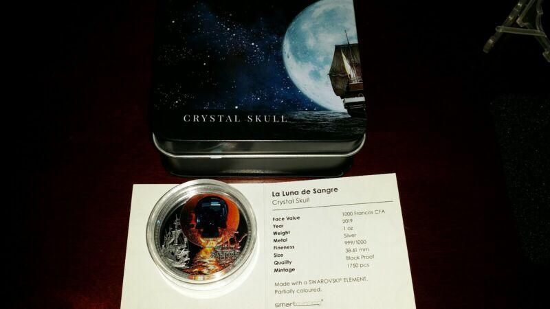 2019 1oz Silver La Luna de Sangre With Swarovski Crystal