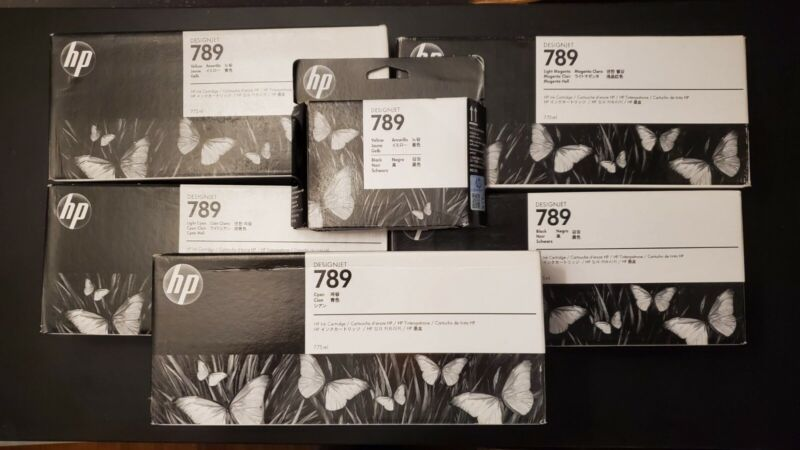 Bundle of HP 789 Inks (Yellow, Cyan, LC, Black, LM) & Printhead(Yellow/Black)