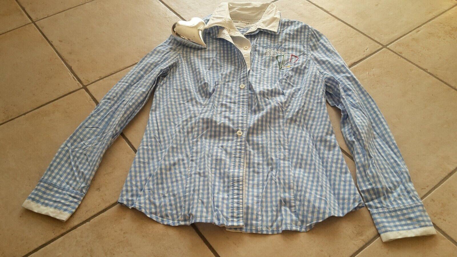 Bluse langarm Damen, tailliert,kariert, Stickerei, hellblau/weiß, Gr.M, Dolomite