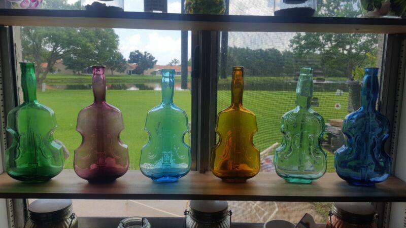 Vintage glass violin bottle collection large