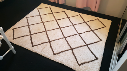 White And Brown Shag Pile Rug