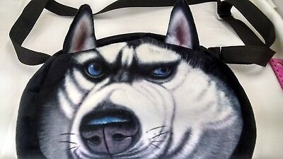 Husky Dog Themed Purse Handbag Cloth Soft Case With shoulder strap kids