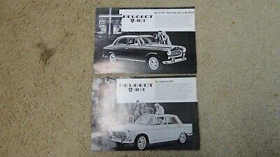 2 Vintage Unique Peugeot 403 404 Dealers Ad Double Sided
