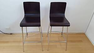 3x Brown Chairs/Bar Stools Wood and Steel North Melbourne Melbourne City Preview