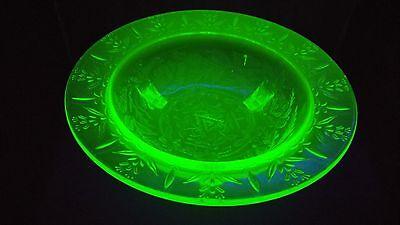 "1930's U.S. Glass Rose & Thorn, green vaseline/uranium glass tri-footed bowl-11"""