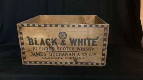 Vintage Black and White Blended Scotch Whisky Wood Crate