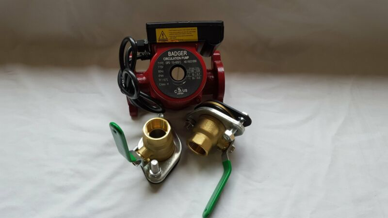 """3 speed Circulating Pump With Cord 20 GPM with (2) 1"""" Flanged Ball Valves"""