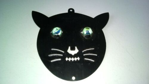 """RARE VINTAGE CHAT NOIR METAL BLACK CAT WITH GLASS EYES """"MOUSS"""" MADE IN FRANCE"""