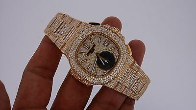 Patek Philippe 18K Pink Gold Chrono Mens Watch 2400 VVS Diamonds Flooded Video