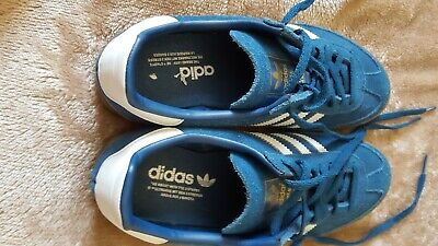 adidas originals jeans trainers blue and white suede size 6