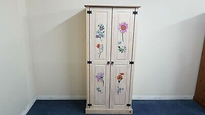 2 Doors Pine wardrobe with floral design