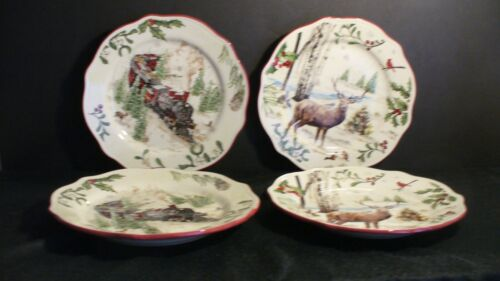 """Better Homes & Gardens Heritage Collection Trains & Deer 8 3/4"""" Plates - 4"""