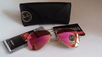 NEW Authentic RAY BAN RB3025 112/4T 58mm Matte Gold Frame Cyclamen pink (Pink Rayban)