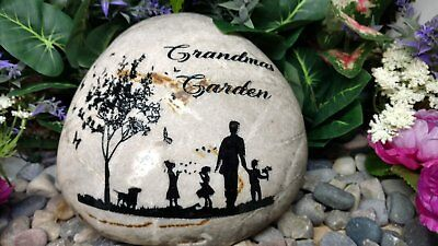 Grandmas Garden Rock Add Kids Custom To Order Carved namesake family stone Grandmas Garden Stone