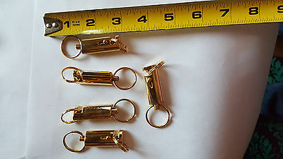 (Lot of 5) Keychains Quick Release Removable Dual Key Rings Gold Stylish