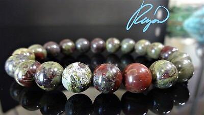"Genuine Bloodstone Bead Bracelet for Men Stretch 10mm 7"", 7.5"", 8"", 8.5"" inch"