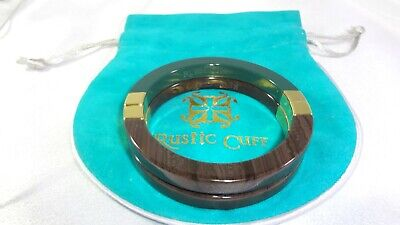 RUSTIC CUFF FELICE HTF Faux Wood/Green Interchangeable Magnetic Bangle Bracelets