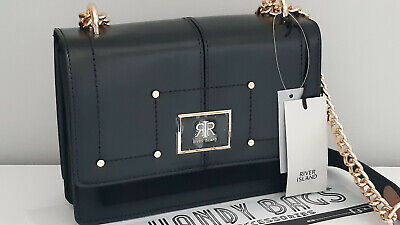RIVER ISLAND Black RI Foldover Satchel Crossbody Bag BNWT