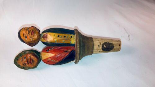 Vintage Detailed Hand Carved Wood Mechanical Bottle Cork Stopper Barware Old