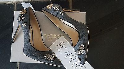 NWT 1095$ Jimmy Choo ROMY flannel crystal heels punps size 39 US 8.5 9
