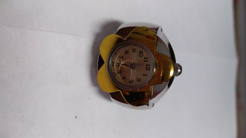watch ring new quartz gold flower and dial stretch band will fit various size