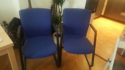 Set Of 2 Guest Conference Reception Office Chairs In Blue