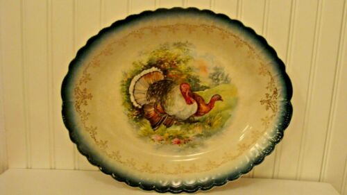"""RARE Antique Sterling China Semi-Porcelain TURKEY Oval Plate 12.7"""" x 10.2"""""""