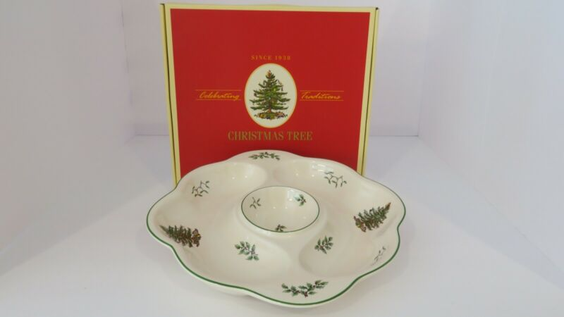 "SPODE CHRISTMAS TREE VEGGIE CHIP DIP CRUDITE PLATTER 10"" NEW IN BOX"