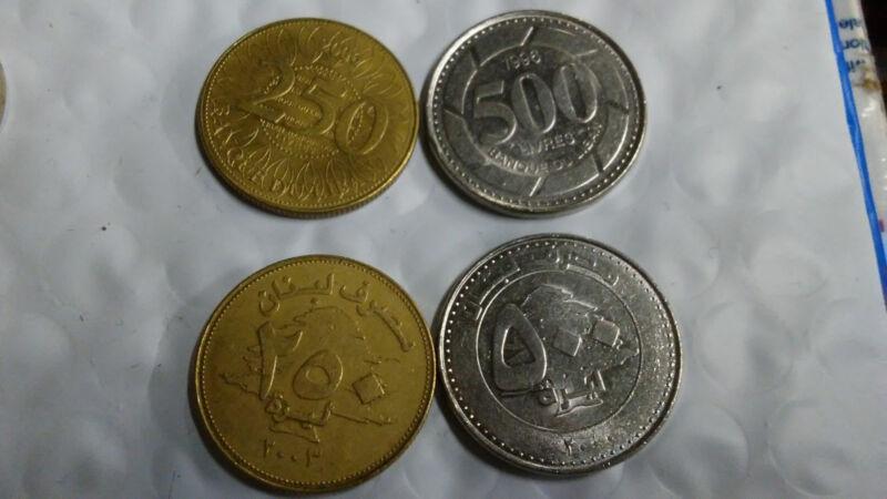 LEBANON, MODERN COIN PAIR, 250 & 500 LIVRES SET