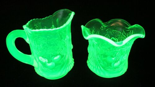 Vtg L G Wright Uranium Vaseline Glass Creamer and sugar Wreathed Cherry Pattern