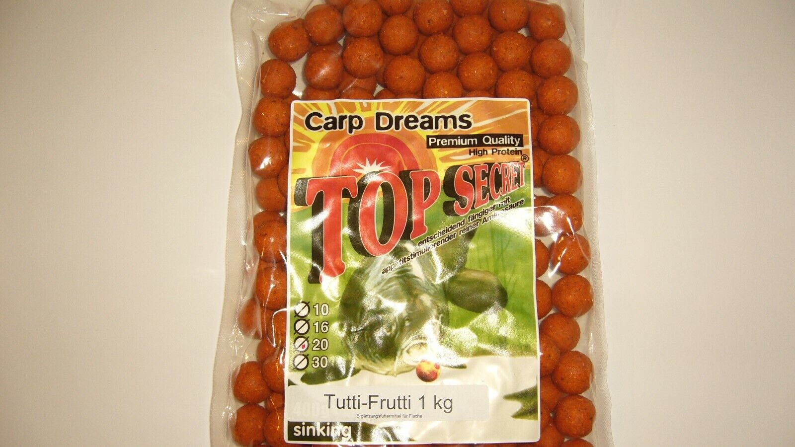 Boilies, Karpfen, Verschiedene Sorten, 1Kg, 20mm, Angeln, Top Secret