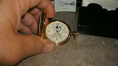 Disney Mickey Mouse & Company Pocket Watch GOLD Tone Color NEW