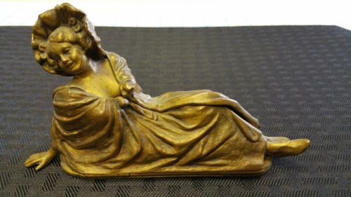 NAUGHTY MECHANICAL LADY GILT BRONZE METAL FIGURINE JENNINGS BROS JB 2039