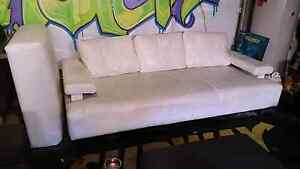 White leather loung + futon Campbelltown Campbelltown Area Preview