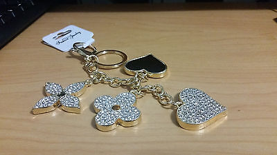 2016 2017 Flower Heart Type Key Chain Bag Purse Charm Ring Crystals Keychain