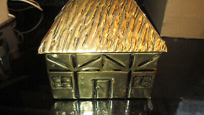 VINTAGE LINTON BRASS COTTAGE / HOUSE TEA CADDY BRASS /WOOD