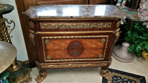 FAB ORNATE French Louis XIV Style GRANITE TOP 3 Drawer Chest Commode PAW FEET!