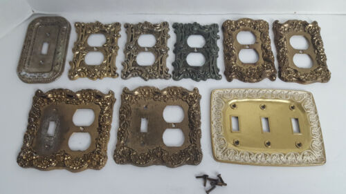 (9) Vintage Brass & Metal Switch Plate & Electric Socket Cover Lot