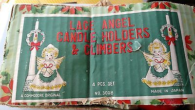 Vintage Angel Candle Holders Christmas Decor Commodore - MidCentury JAPAN