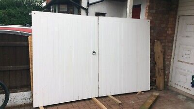 Solid Wooden White (Black) Driveway Gates Width 10ft X Height 6ft