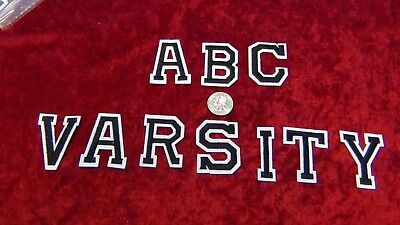 Black And White Borders (Alphabet letters numbers patch Varsity 2 inch CAPS black white border Iron)
