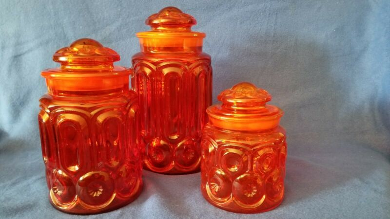 Vintage LE Smith Moon and Stars red Glass canister jars set of 3