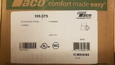 Taco 008-sf6 Hot Water Circulator Pumpss 125 Hp