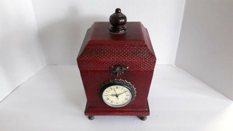VINTAGE HOME INTERIORS DECORATIVE BOX W/ QUARTZ CLOCK #11780-03