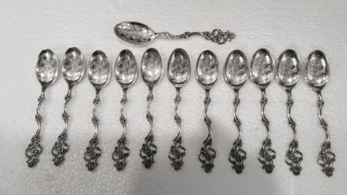 Thorvald Marthinsen Floral Pattern 408 Fancy Ornate Demitasse Spoons 830S Silver