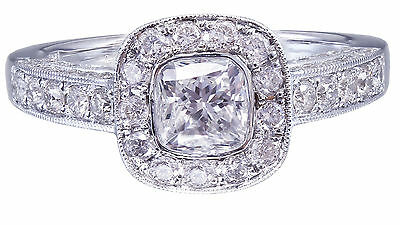 GIA D-SI1 14k White Gold Cushion Cut Diamond Engagement Ring Bezel Deco 1.70ctw 11