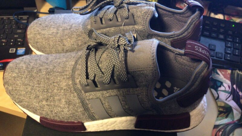 3efe274d9 ... Adidas NMD R1 Grey Wool Maroon White CQ0761 Exclusive Boost Runner Men s  Size ...