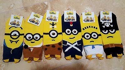 MINIONS PIRATE SOCKS 6 pairs=1 pack women girl cute SHIP FROM - Minion Adult Socks