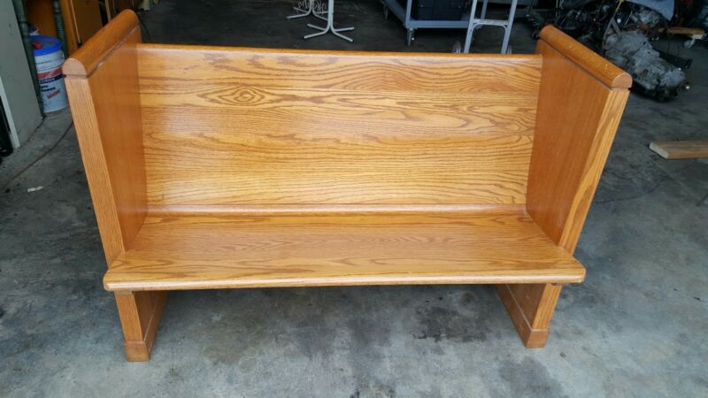 """Church Pew Bench Solid Oak 48"""" +/- with Cross. Local pickup."""