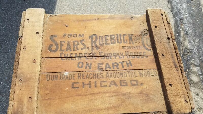 Antique Sears & Roebuck Large Wooden Shipping Crate Box Advertising NICE LQQK!
